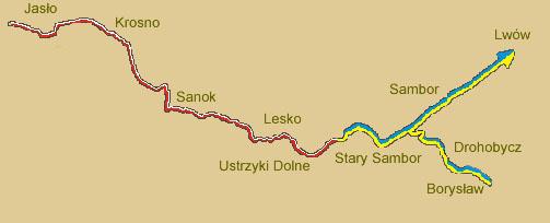 mapa szlak naftowy Polska-Ukraina