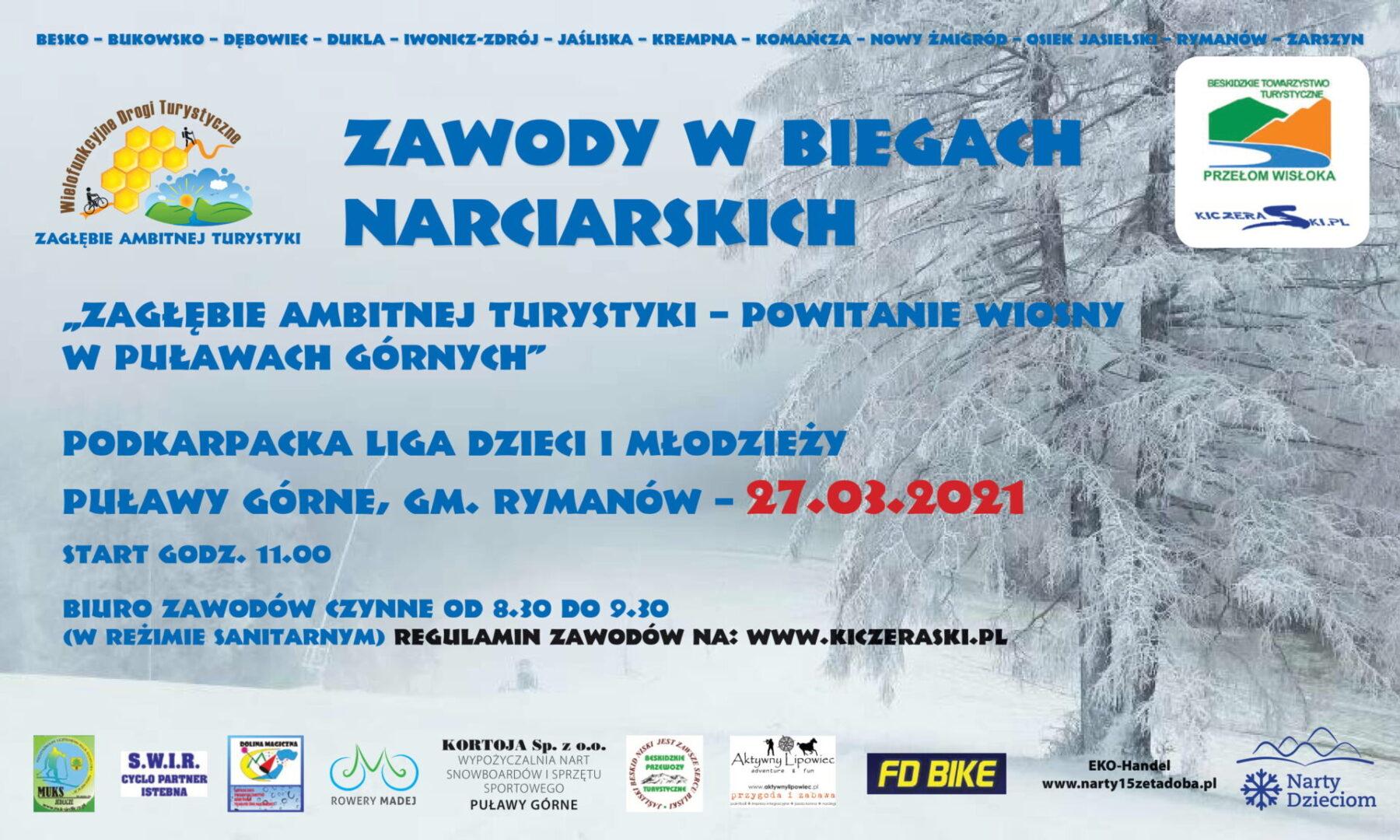 Zawody w biegach narciarskich w Puławach Górnych.